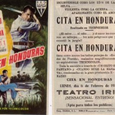 Cine: FOLLETO DE MANO CITA EN HONDURAS CON GLENN FORD Y ANN SHERIDAN . TEATRO IRIS ZARAGOZA, 1956. Lote 57567832