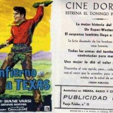 Cine: FOLLETO DE MANO DEL INFIERNO A TEXAS CON DON MURRAY Y DIANE VARSI. CINE DORADO ZARAGOZA. Lote 120252290