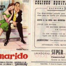 Cine: FOLLETO DE MANO EL MARIDO CON AURORA BAUTISTA Y ALBERTO SORDI . COLISEO EQUITATIVA ZARAGOZA. Lote 179028128