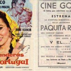 Cine: FOLLETO DE MANO LAVANDERAS DE PORTUGAL CON PAQUITA RICO Y J.C.PASCAL. CINE GOYA ZARAGOZA. Lote 79593506