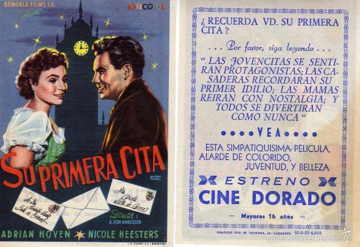 FOLLETO DE MANO SU PRIMERA CITA CON ADRIAN HOVEN Y NICOLE HEESTERS. CINE DORADO ZARAGOZA (Cine - Folletos de Mano - Comedia)