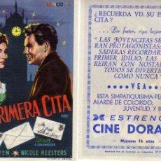 Cine: FOLLETO DE MANO SU PRIMERA CITA CON ADRIAN HOVEN Y NICOLE HEESTERS. CINE DORADO ZARAGOZA. Lote 57570034