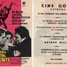 Cine: FOLLETO DE MANO PANORAMA DESDE EL PUENTE CON RAF VALLONE, JEAN SOREL.... CINE GOYA ZARAGOZA. Lote 86076823