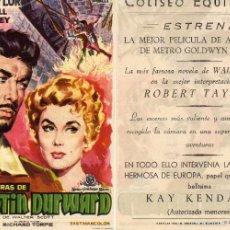 Cine: FOLLETO DE MANO AVENTURAS DE QUINTIN DURWARD CON ROBERT TAYLOR . COLISEO EQUITATIVA ZARAGOZA. Lote 227202545