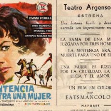 Cine: FOLLETO DE MANO SENTENCIA CONTRA UNA MUJER CON EMMA PENELLA. TEATRO ARGENSOLA ZARAGOZA. Lote 216893022