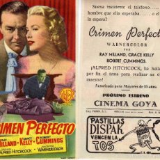 Cine: FOLLETO DE MANO CRIMEN PERFECTO CON GRACE KELLY Y ALFRED HITCHCOCK. CINE GOYA ZARAGOZA. Lote 214607006