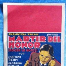 Cine: EXCLUSIVAS TRIAS PRESENTA: MÁRTIR DEL HONOR, ROGER LA HONTE. CON CONSTAND REMY, GERMAINE ROUE, 1932.. Lote 57590951