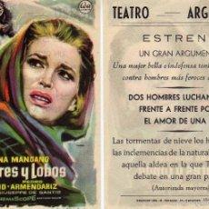 Cine: FOLLETO DE MANO HOMBRES Y LOBOS CON S. MANGANO, Y. MONTAND, P. ARMENDARIZ. TEATRO ARGENSOLA ZARAGOZA. Lote 57602299
