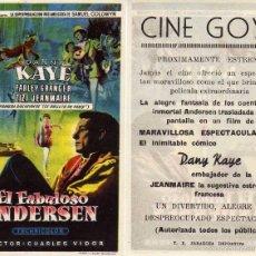 Cine: FOLLETO DE MANO EL FABULOSO ANDERSEN. CINE GOYA ZARAGOZA. Lote 58384213