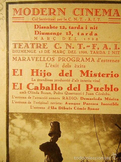 Cine: EL HIJO DEL MISTERIO-ALALA EN ESPAÑA-ADOLFO TROTZ-ANTOÑITA COLOME-MODERN-C.N.T.-A.I.T.-F.A.I.-1938. - Foto 3 - 57626160