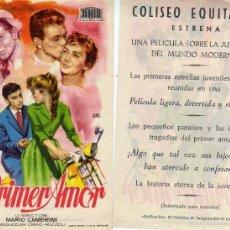 Cine: FOLLETO DE MANO EL PRIMER AMOR . COLISEO EQUITATIVA ZARAGOZA. Lote 57626991
