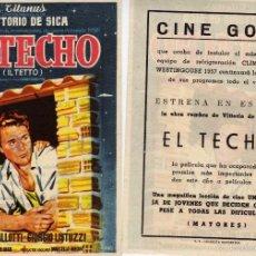 Cine: FOLLETO DE MANO EL TECHO CON VITTORIO DE SICA. CINE GOYA ZARAGOZA. Lote 57627677