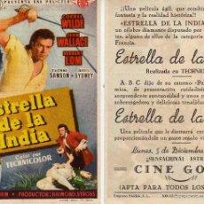 Folhetos de mão de filmes antigos de cinema: FOLLETO DE MANO ESTRELLA DE LA INDIA CON CORNEL WILDE, JEAN WALLACE. CINE GOYA ZARAGOZA VER ESTADO. Lote 57634374