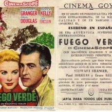 Cine: FOLLETO DE MANO FUEGO VERDE CON STEWART GRANGER Y GRACE KELLY. CINE GOYA ZARAGOZA. Lote 120685755