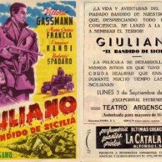 Cine: FOLLETO DE MANO GIULIANO EL BANDIDO DE SICILIA CON VITTORIO GASSMAN GOYA ZARAGOZA. Lote 71413578