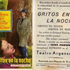 Cine: FOLLETO DE MANO GRITOS EN LA NOCHE. TEATRO ARGENSOLA ZARAGOZA. Lote 75521842