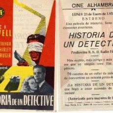 Cine: FOLLETO DE MANO HISTORIA DE UN DETECTIVE CON DICK POWELL. CINE ALHAMBRA ZARAGOZA. Lote 91416783