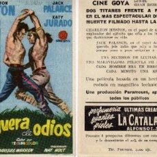 Cine: FOLLETO DE MANO HOGUERA DE ODIOS CON CHARLTON HESTON Y JACK PALANCE. CINE GOYA ZARAGOZA. Lote 57635804