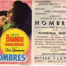 Cine: FOLLETO DE MANO HOMBRES CON MARLON BRANDO Y TERESA WRIGHT. CINE GOYA ZARAGOZA. Lote 244651650