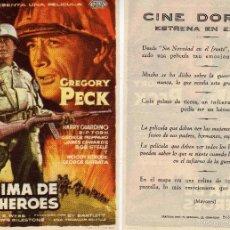 Cine: FOLLETO DE MANO LA CIMA DE LOS HÉROES CON GREGORY PECK. CINE DORADO ZARAGOZA. Lote 216894671
