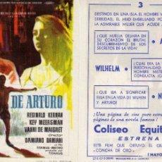 Cine: FOLLETO DE MANO LA ISLA DE ARTURO CON REGINALD KERNAN . COLISEO EQUITATIVA ZARAGOZA. Lote 57636899