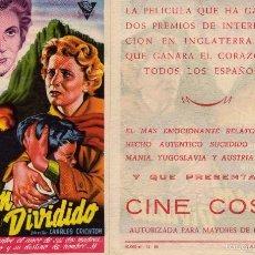 Cine: FOLLETO DE MANO CORAZON DIVIDIDO . CINE COSO ZARAGOZA. Lote 57651204