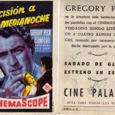 Cine: FOLLETO DE MANO DECISIÓN A MEDIANOCHE CON GREGORY PECK. CINE PALAFOX ZARAGOZA. Lote 57651387
