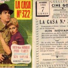 Folhetos de mão de filmes antigos de cinema: FOLLETO DE MANO LA CASA Nº 322 CON KIN NOVAK, . CINE GOYA ZARAGOZA. Lote 57657324