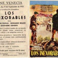 Cine: FOLLETO DE MANO LOS INEXORABLES. CINE VENECIA ZARAGOZA. Lote 57657950