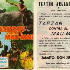 Cine: FOLLETO DE MANO TARZAN CONTRA EL MAU-MAU. TEATRO ARGENSOLA ZARAGOZA. Lote 57658657