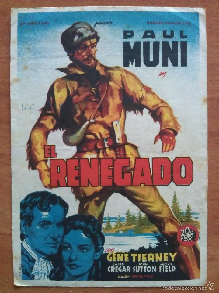 1946 EL RENEGADO - PAUL MUNI (Cine - Folletos de Mano - Westerns)