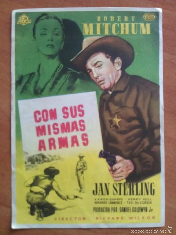 CON SUS MISMAS ARMAS - ROBERT MICHUM - PUBLICIDAD (Cine - Folletos de Mano - Westerns)