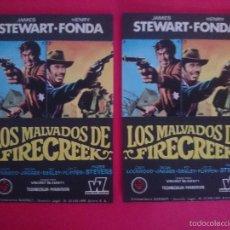 Cine: LOTE 2 FOLLETO,PROGRAMA CINE -LOS MALVADOS DE FIRECREEK (1969) -JAMES STEWARD- HENRY FONDA-.. R-3001. Lote 57695905
