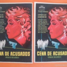 Cine: LOTE 2 FOLLETO, PROGRAMA CINE - CENA DE ACUSADOS -MARIE OCTOBRE (1960) - DANIELLE DARRIEUX.. R-3002. Lote 57699232