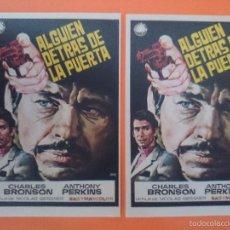 Cine: 2 FOLLETO, PROGRAMA CINE - ALGUIEN DETRAS DE LA PUERTA , AÑO 1970 - CHARLES BRONSON - R-3012. Lote 62324088