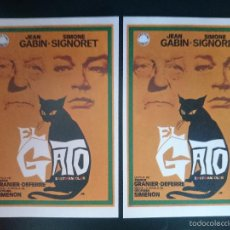 Cine: 2 FOLLETO, PROGRAMA CINE - EL GATO - AÑO 1971 - JEAN GABIN - SIMONE SIGNORET - R-3018. Lote 57725514
