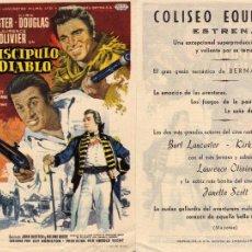 Cine: FOLLETO DE MANO EL DISCIPULO DEL DIABLO . COLISEO EQUITATIVA ZARAGOZA. Lote 268312154