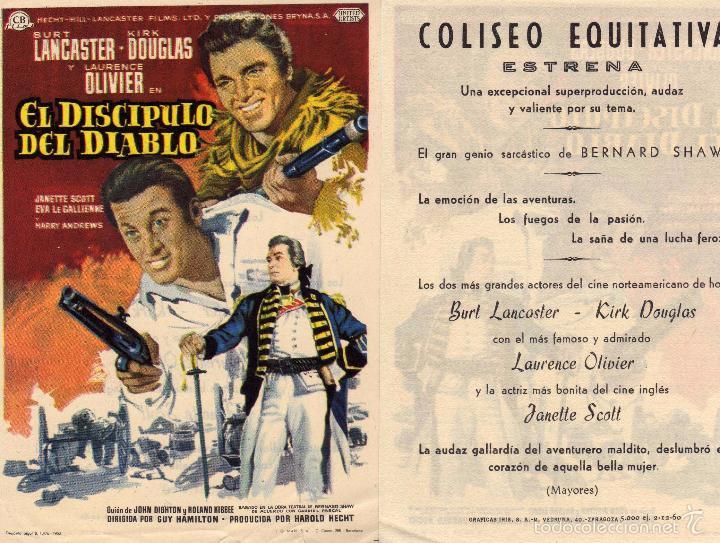 Cine: Folleto de mano El discipulo del diablo . Coliseo Equitativa Zaragoza - Foto 2 - 268312154