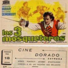 Cine: FOLLETO DE MANO LOS 3 MOSQUETEROS CON G. BARRY , M. DEMONGEOT.... CINE DORADO ZARAGOZA . Lote 57762413
