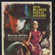 Flyers Publicitaires de films Anciens: P-6430- SEIS MUJERES PARA EL ASESINO (SEI DONNE PER L'ASSASSINO) (CAMERON MITCHELL - EVA BARTOK). Lote 113976332