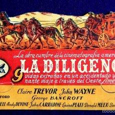 Cine: PROGRAMA DE CINE DE MANO ORIGINAL. TROQUELADO. LA DILIGENCIA. TEATRO PRINCIPE. VITORIA. 1945. Lote 57827629