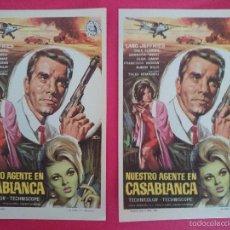 Cine: LOTE 2 FOLLETO, PROGRAMA CINE- NUESTRO AGENTE EN CASABLANCA - AÑO 1966 - LANG JEFFRIES, ...R-3060. Lote 57846874