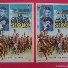 Cine: LOTE 2 FOLLETO, PROGRAMA CINE -LA CARGA DE LOS INDIOS SIOUX -AÑO 1965 - JEFF CHANDLER ... R-3065. Lote 57852983