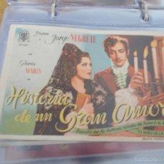 Cine: HISTORIA DE UN GRAN AMOR.JORGE NEGRETE, GLORIA MARÍN PUBLICIDAD CINE IDEAL ELDA. Lote 57918462