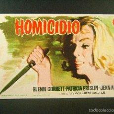 Flyers Publicitaires de films Anciens: HOMICIDIO-WILLIAM CASTLE-GLENN CORBETT-PATRICIA BRESLIN-JEAN ARLESS-JANO-CINE ORIENTE-GERONA-1962. . Lote 57919971