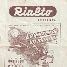 LA GUERRA DE LOS MUNDOS- PROGRAMA LOCAL CINE RIALTO (VALENCIA) LIBRITO 12 PÁGINAS
