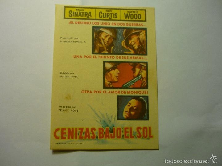 PROGRAMA CENIZAS BAJO EL SOL - FRANK SINATRA-PUBLICIDAD CINE VERANO UNION MUSICAL LIRIA (Cine - Folletos de Mano - Bélicas)