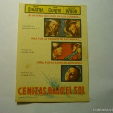 Cine: PROGRAMA CENIZAS BAJO EL SOL - FRANK SINATRA-PUBLICIDAD CINE VERANO UNION MUSICAL LIRIA. Lote 58016120