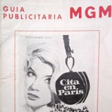 Cine: CARTEL PELÍCULA ''CITA EN PARÍS'' + 3 FOTOS 1966 CON ANN MARGRET. Lote 58070644