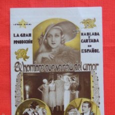 Cine: EL HOMBRE QUE SE REIA DEL AMOR, DOBLE 1933, Mª FERNANDA LEON RAFAEL RIVELLES, CON PUBLICIDAD. Lote 58133429